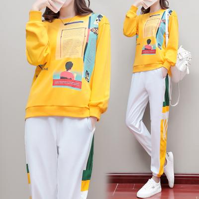 运动套装女秋季时尚潮流印花休闲两件套洋气减龄时髦运动服休闲服
