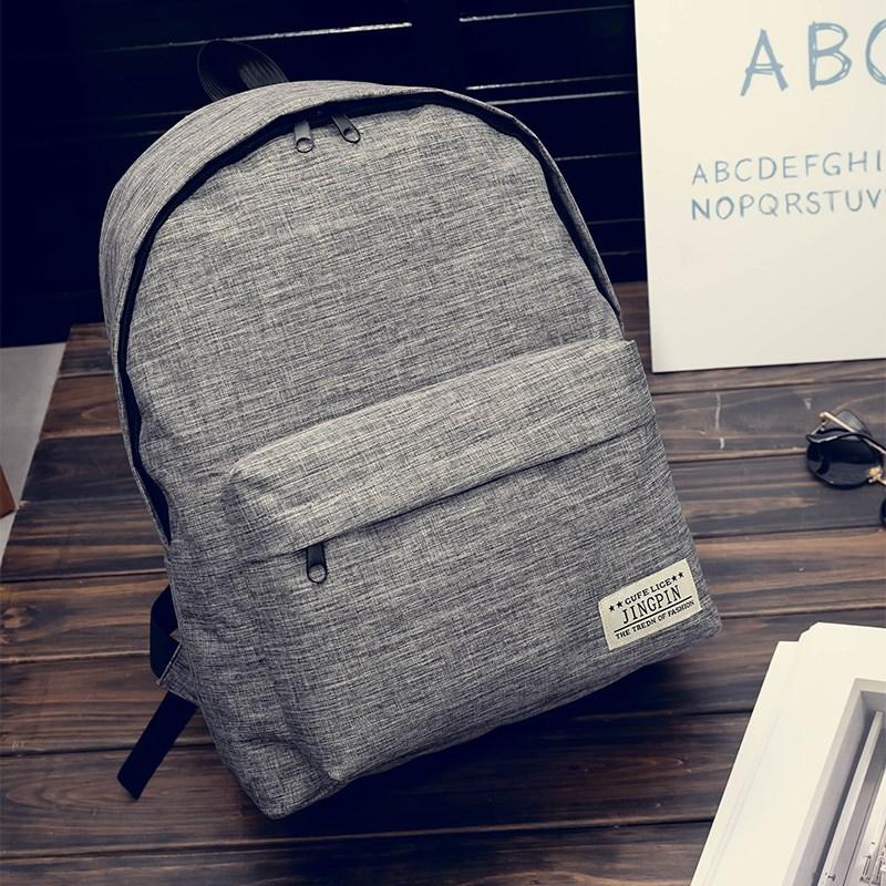热销韩版背包男学院风大学生书包帆布潮流电脑背包休闲高中双便宜