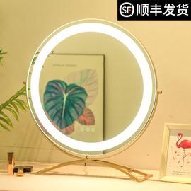 米卡化妆镜台式led带灯桌面大号梳妆镜网红宿舍充电壁挂圆形镜子图片