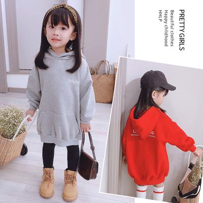 2019秋装韩版洋气套头卫衣大口袋上衣中长款字母连帽衫新款女童装