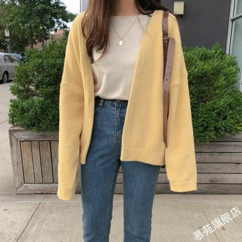 2021早春新款韩版慵懒风很仙的开衫毛衣女宽松学生黄色针织衫外套