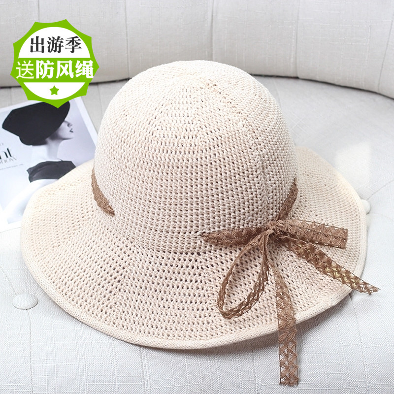 Korean knitted big edge knitted hat mesh breathable summer sun hat fashion travel bow foldable