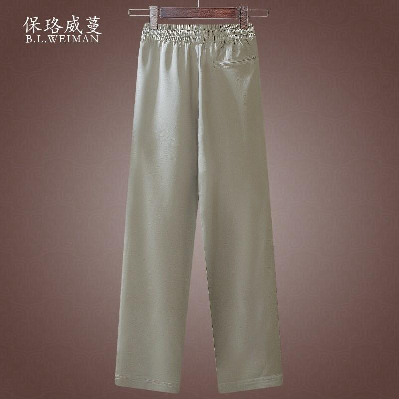 重磅桑蚕丝男裤子杭州真丝绸夏季休闲薄款直筒松紧腰男士运动长裤