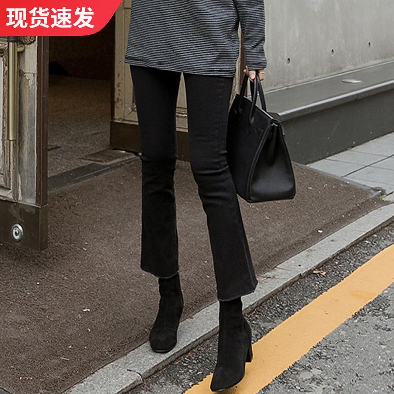 黑色高腰微喇叭牛仔褲女九分2020春季新款寬松顯瘦直筒八分小個子