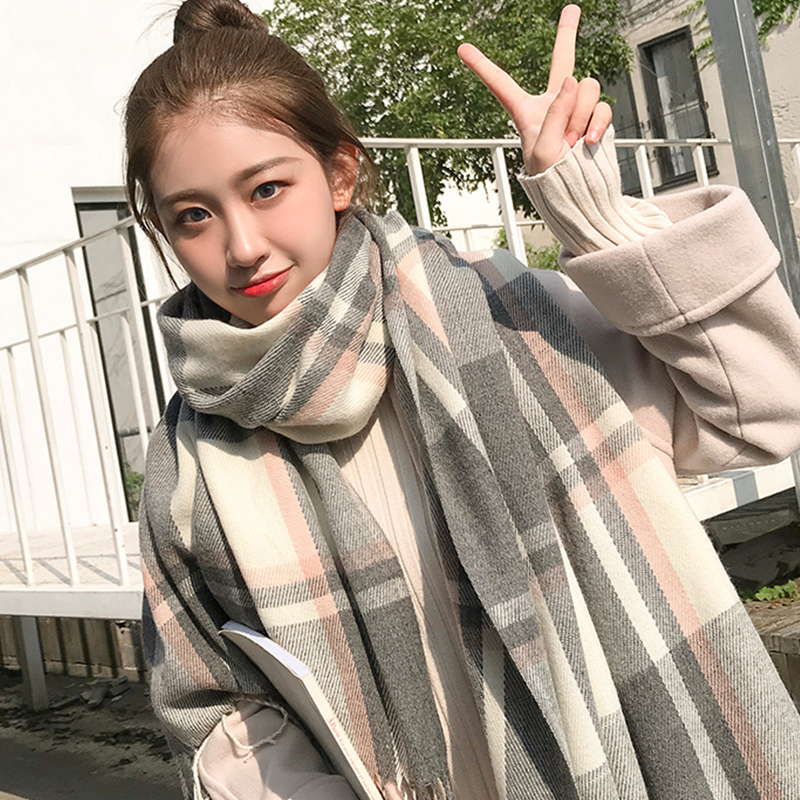 Korean thermal plaid scarf for female students in autumn and winter