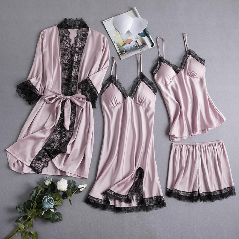 夏季冰丝性感四件套带胸垫短裤睡裙