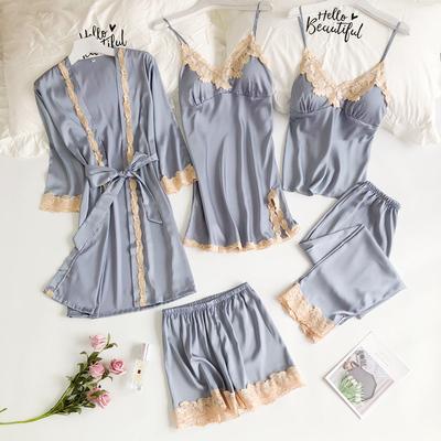 睡衣五件套女春夏性感冰丝韩版吊带睡裙睡袍套装带胸垫丝绸家居服
