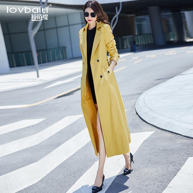 黄色风衣2021年新款中长款女气质翻领过膝修身时尚垂感外套春797