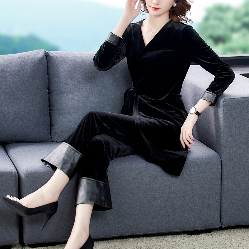 Counter genuine golden velvet suit female high-end feminine fashion slim fit foreign style expensive lady two-piece suit female