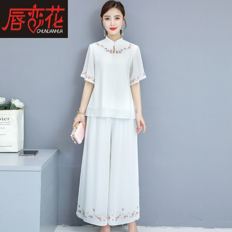 Tang suit female Chinese style hanfu modified fashion girl cheongsam top short tea artist