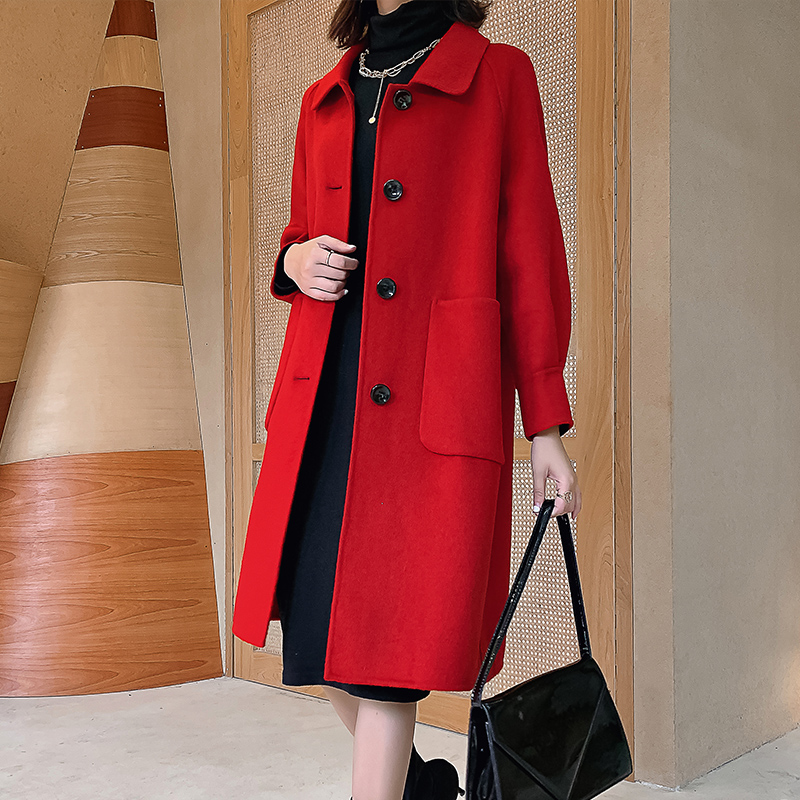 Autumn and Winter 2019 New 100% Wool Overcoat Female Hepburn Thickened Medium and Long Red Double-sided Cashmere Wool Coat