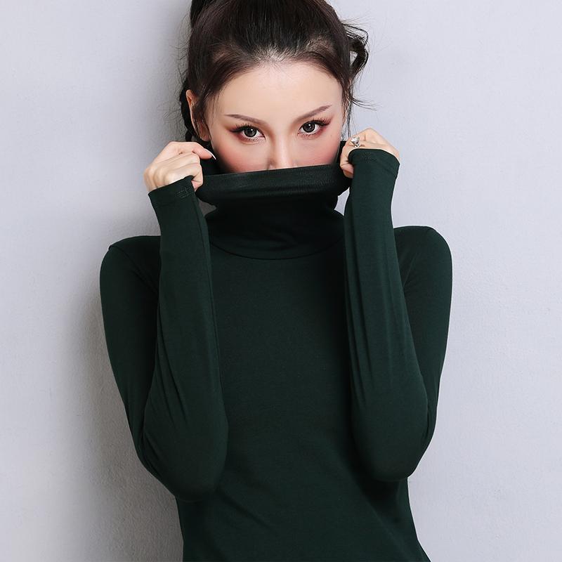 Dark green high collar bottoming shirt womens pure cotton long sleeves wear clothes autumn winter 2019 new fashion fashion T-shirt