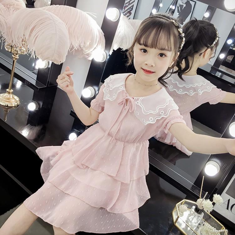 女童连衣裙2019新款夏季超洋气公主裙儿童装大童小女孩蛋糕裙子潮