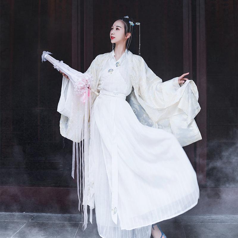 毕方传统汉服古风仙女学生齐腰襦裙广袖流仙裙中国风古装套装,可领取元淘宝优惠券