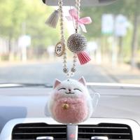 创意汽车饰品挂件可爱招财猫车载后视镜挂饰吊饰车内装饰品保平安