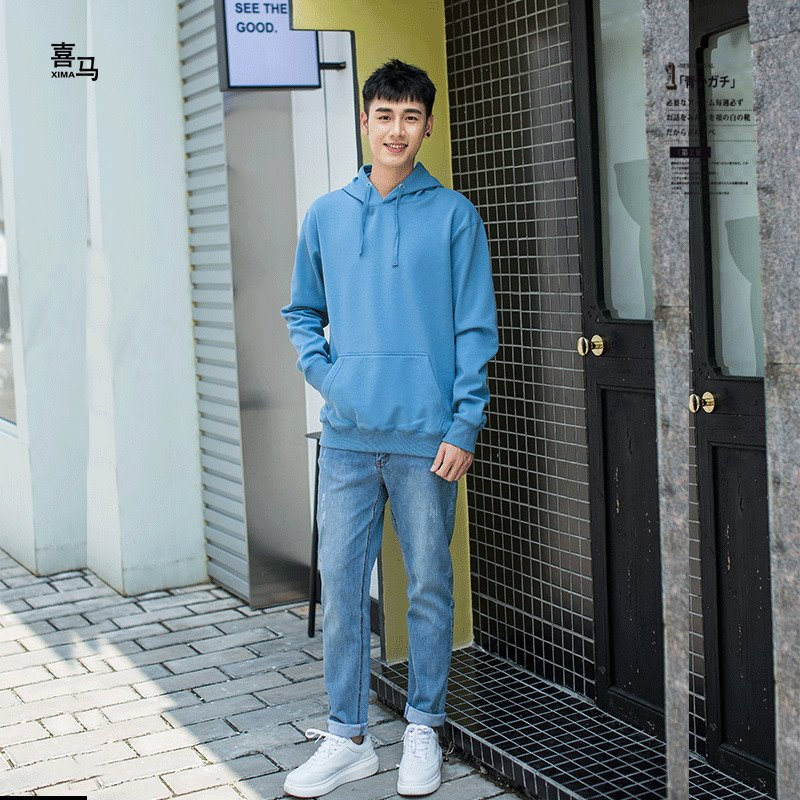 New product autumn winter 2020 new mens sweater Plush thickened super soft Hoodie solid color loose sweater DIY