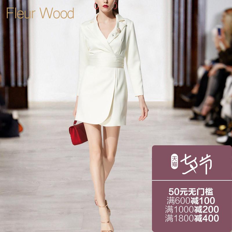 FLEUR WOOD2018新款女装春装秋冬装欧美时尚修身长袖年会连衣裙子