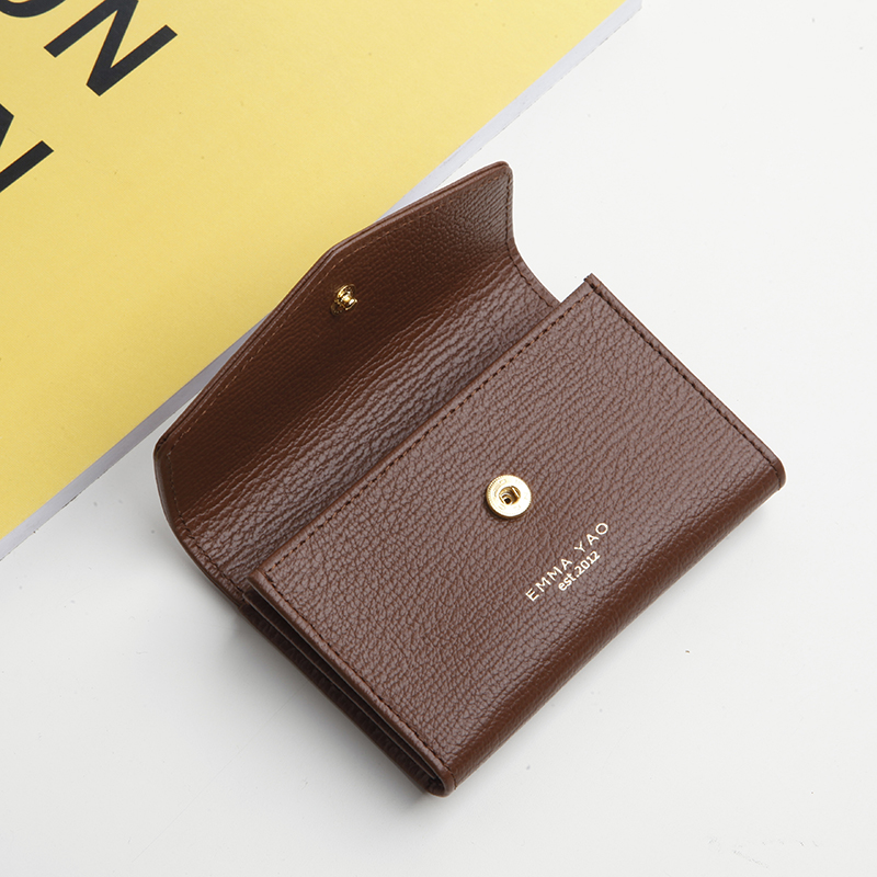 Emma Yao womens leather business card bag top layer cowhide small card bag card bag Korean clip Japanese zero wallet