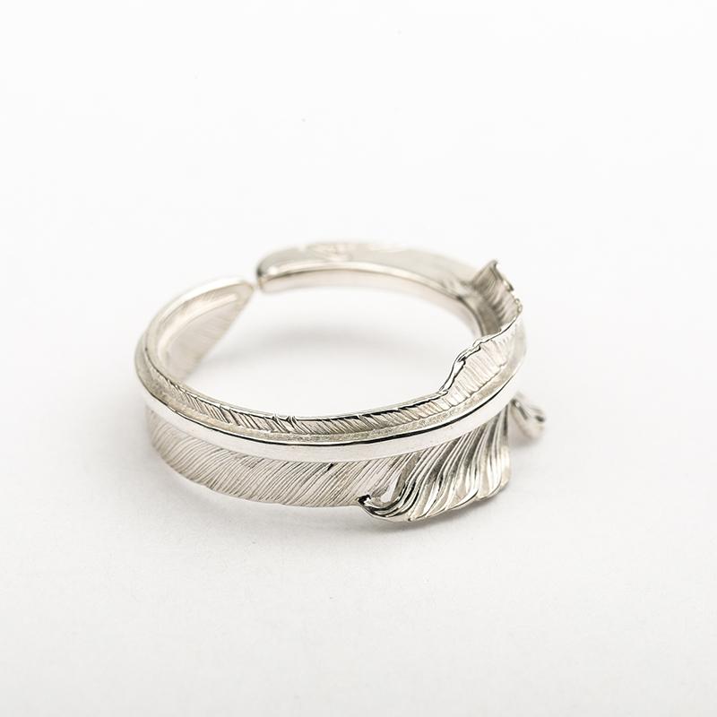 arkipelagus/偶屿红尾鹰风切羽925银印第安复古男女情侣羽毛戒指图片
