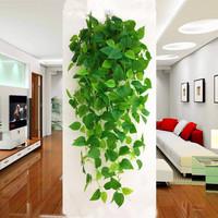查看仿真壁挂绿植挂墙假花藤条墙面塑料假叶子吊兰装饰树叶吊篮绿萝花价格
