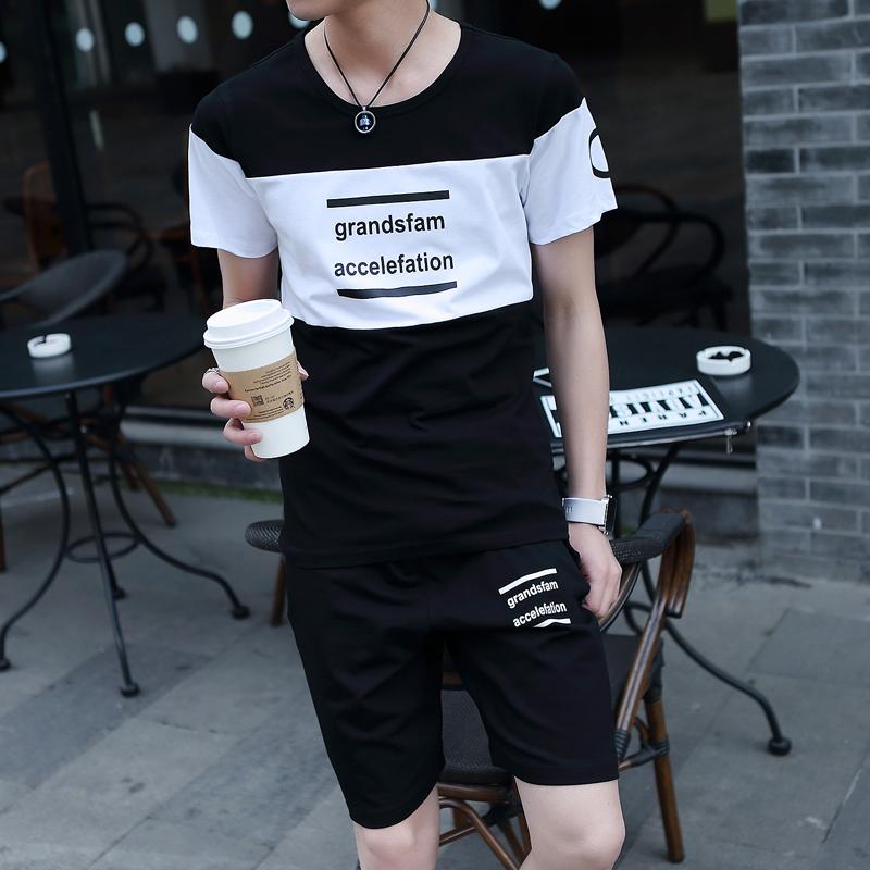 短袖t恤男士套装夏季2018新款韩版潮流休闲帅气一套衣服男装夏装