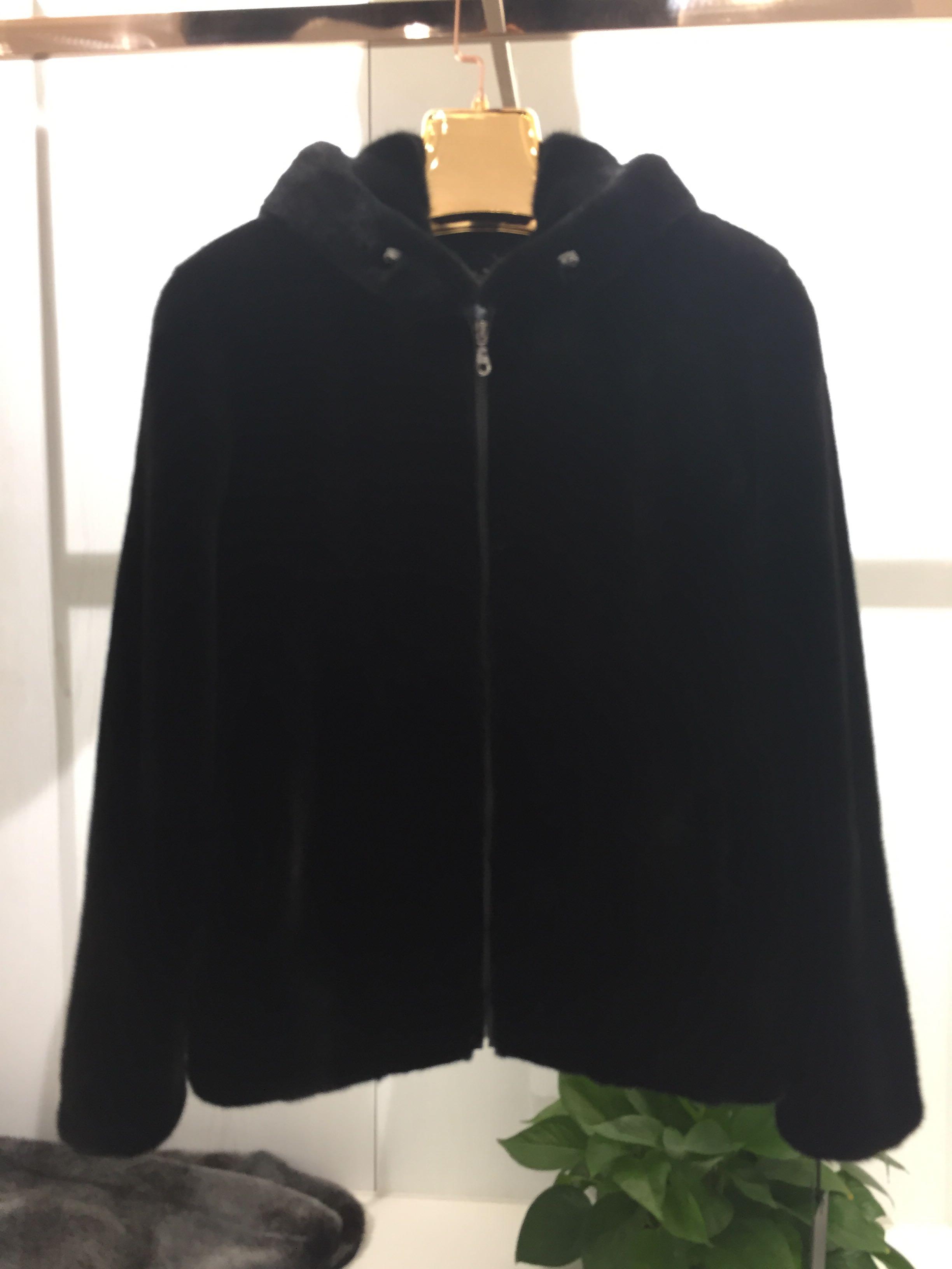 Regal high end mens mink classic Hooded Jacket imported crown velvet fur jacket