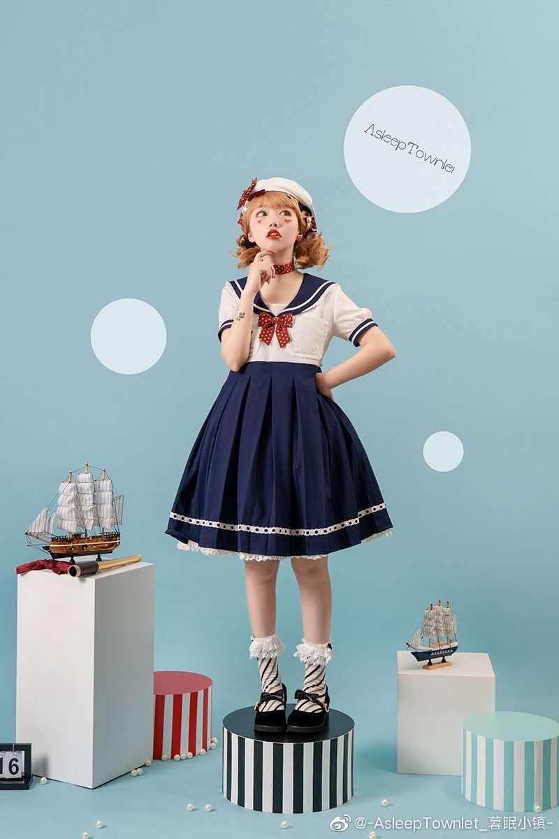 【远航梦幻岛春夏】 lolita 学院风海军风套装与OP现货页面