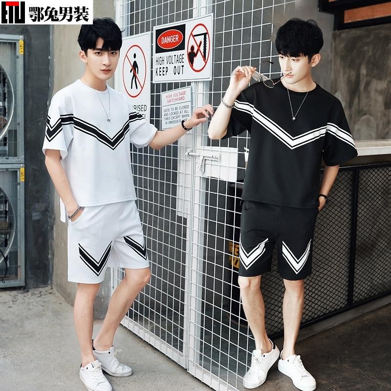 男潮男搭配体血衫显瘦衣服夏天穿的bf风园领t shirt个性潮流韩版