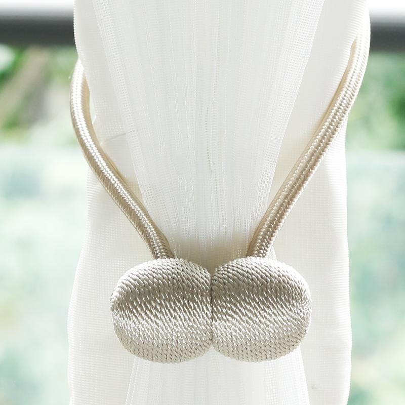 创意窗帘磁吸绑扣布帘纱帘浴帘绑带绑珠免打孔安装磁吸绑绳一对装