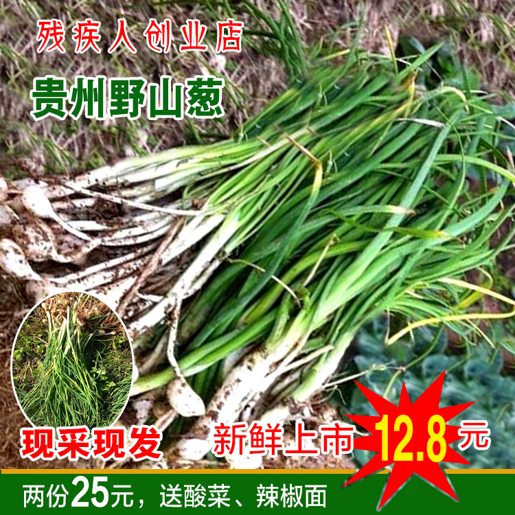 贵州特产野生小蒜新鲜蔬菜野蒜现挖现卖农家野葱薤白野菜苦�包邮
