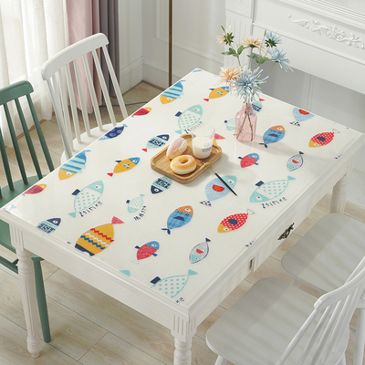 Soft glass pvc color waterproof rectangular anti-scalding disposable household tablecloth table mat printed table cloth crystal version