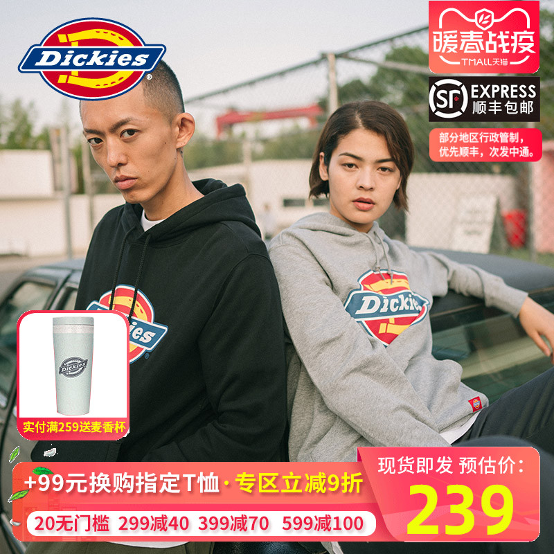 Valentine's Day Dickies men's Hoodie fashion brand European and American sports men's and women's couple's Pullover