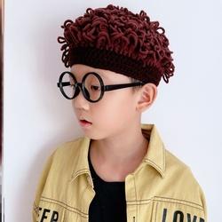 拖把头假发帽一体个性爆炸头短发拖把帽子宝宝女童时尚冬季新款潮
