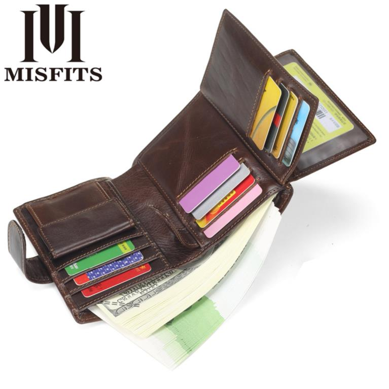 Leather Pocket Wallet with zipper for men