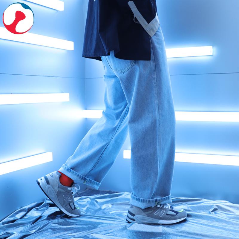 10月15日最新优惠秋季阔脚牛仔裤男潮ins宽松坠感阔腿垂感港风直筒潮裤大脚口裤子
