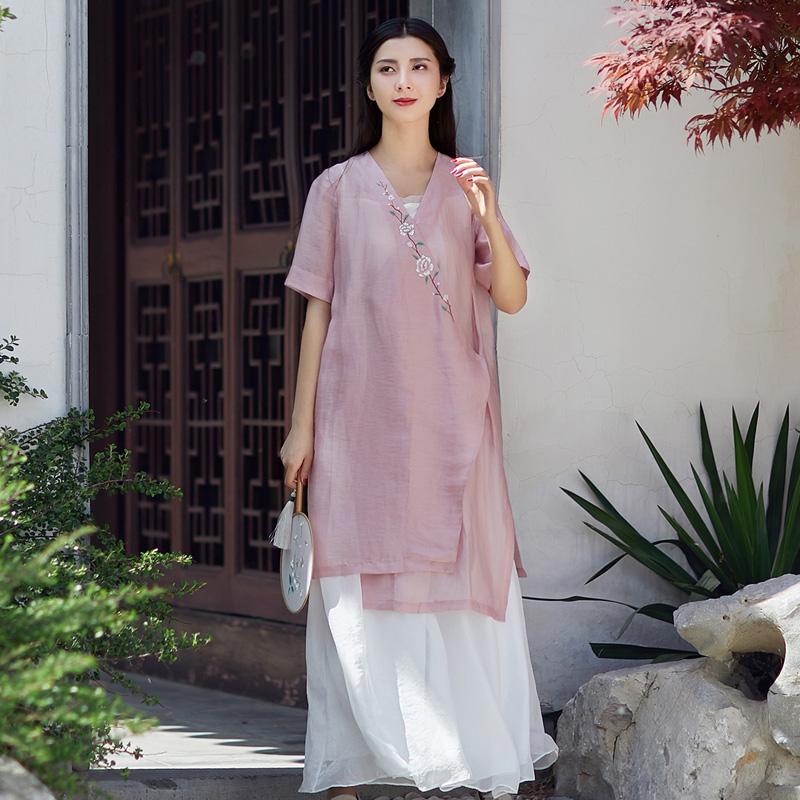 素飞汉服女改良夏装文艺复古中式手绘短袖斜襟上衣棉麻禅意茶人服