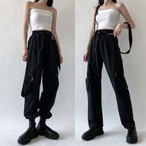 WEEKEEP可拆卸背带设计感两穿帅气工装裤女宽松百搭束脚休闲裤潮