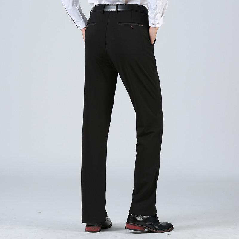 纯色中年长裤百搭加厚男士垂感直筒裤商务宽松西裤加绒中老年大码