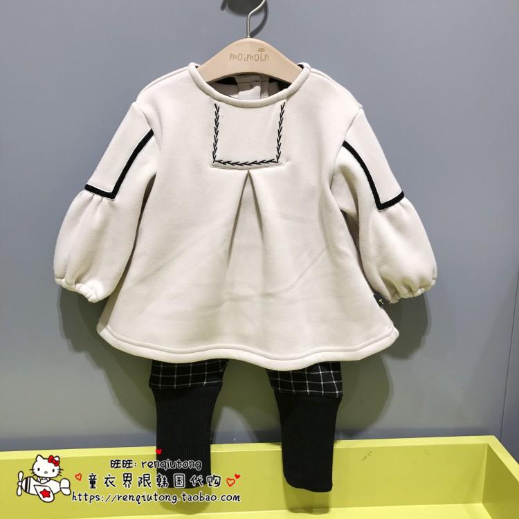 现打折款韩国童装代购moimoln小云朵雨伞冬加绒女童洋气套装ST67