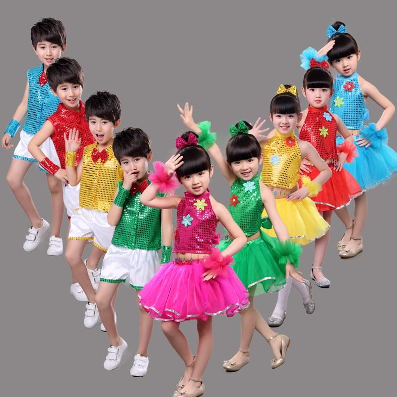 儿童演出服特惠六一小孩亮片新款服幼儿园表演服男女童舞蹈服合唱