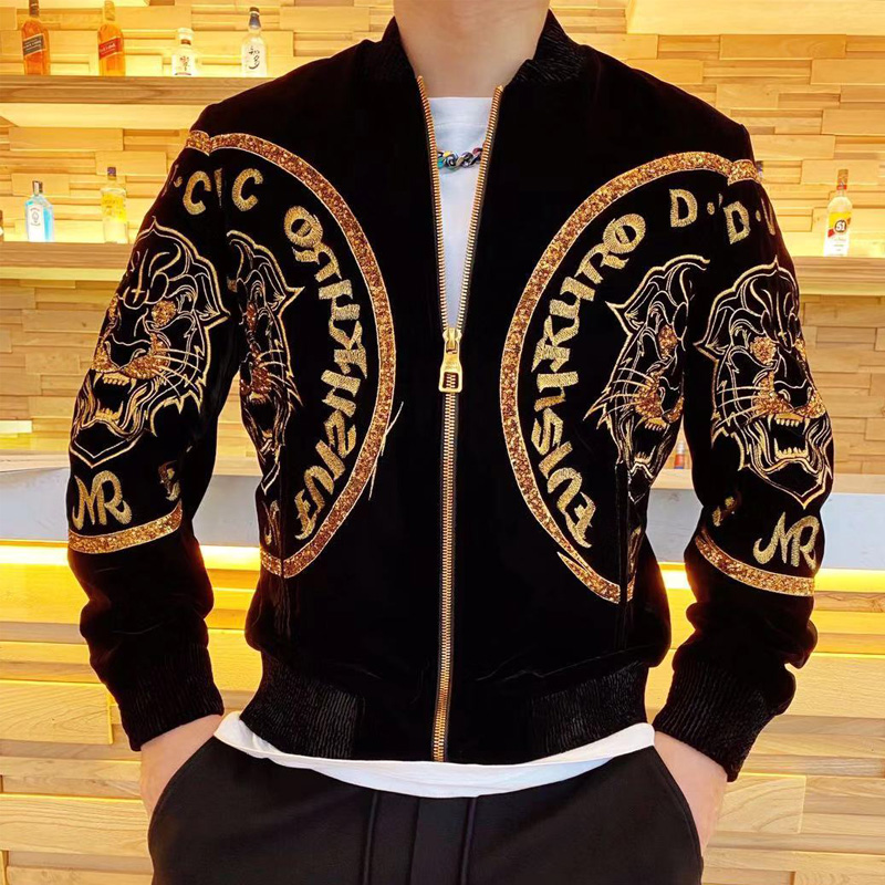 20 winter new style jacket temperament mens trend personality tiger head embroidery sequins versatile thickening warm coat fashion