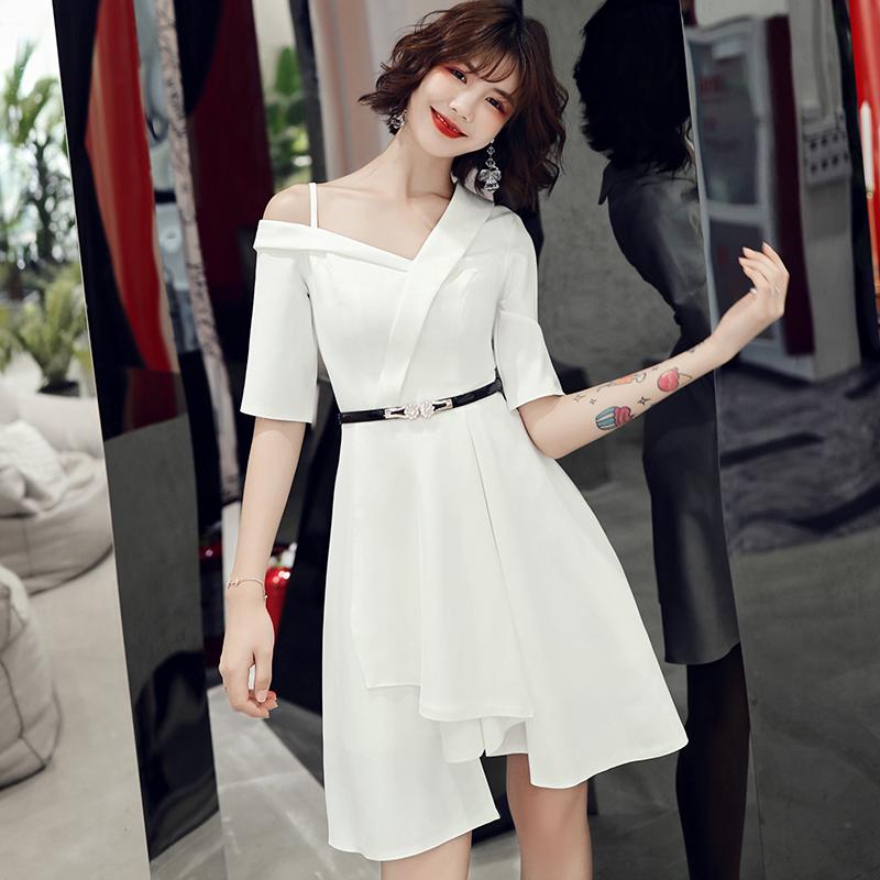 白色法式小礼服女简单大方短款宴会气质高贵显瘦名媛连衣裙晚礼服