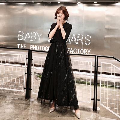 黑色小晚礼服女2019新款平时可穿长款气场女王宴会气质年会连衣裙