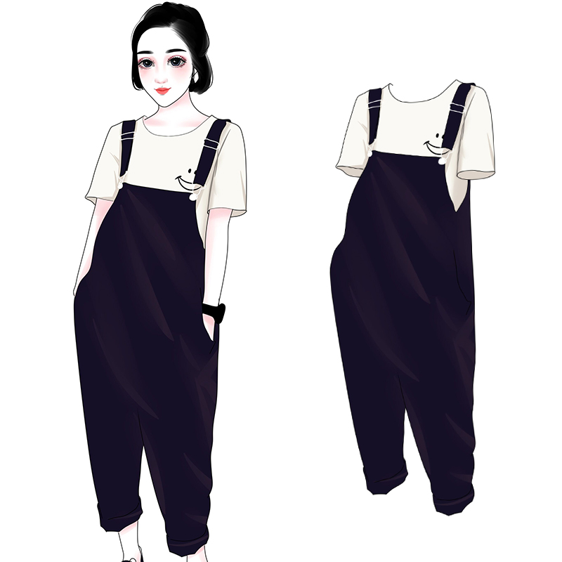 胖mm2018新款韩版大码女装宽松显瘦阔腿裤洋气遮肚子背带裤200斤