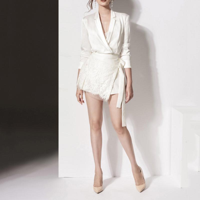 新款性感翻领系带收腰欧美时尚职业女装 修身显瘦白色套装裙