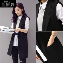 Long and medium-length waistcoat for women in suit and waistcoat, spring and autumn 2019 new waistcoat, jacket, Korean version, sleeveless and thin shoulder jacket