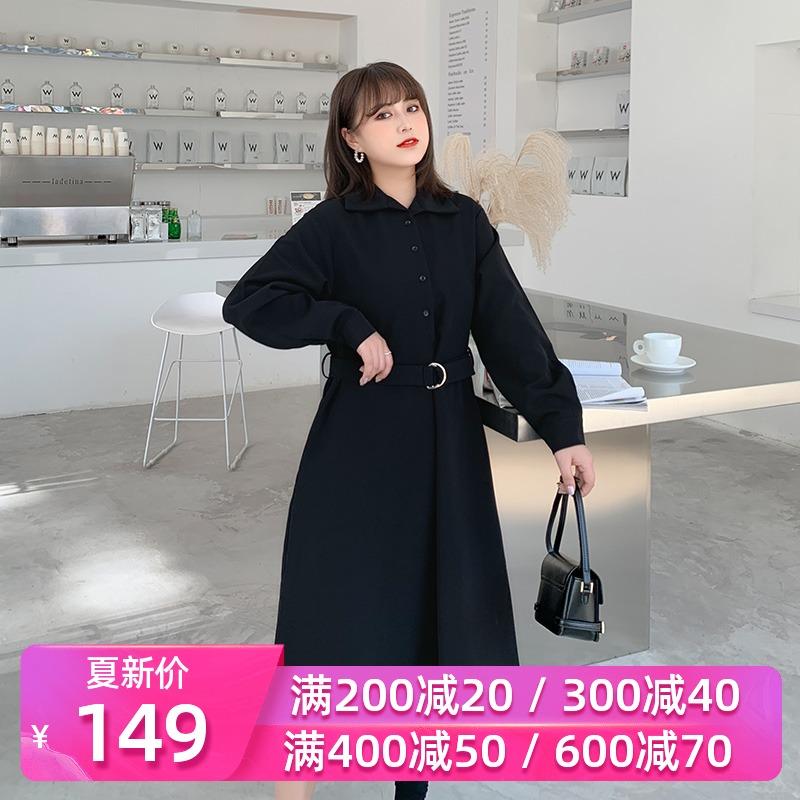 大碼女裝法式桔梗襯衫連衣裙2020新款春裝肥mm胖女人減齡顯瘦長裙