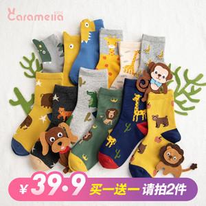 caramella春秋宝宝袜子中长筒儿童卡通动物袜婴儿纯棉袜地板袜子