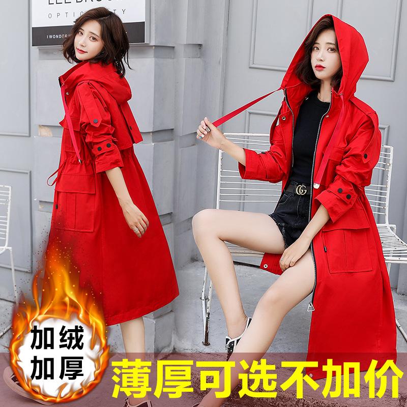 2020流行新款秋冬红色风衣女中长款结婚加绒加厚外套时尚气质大衣