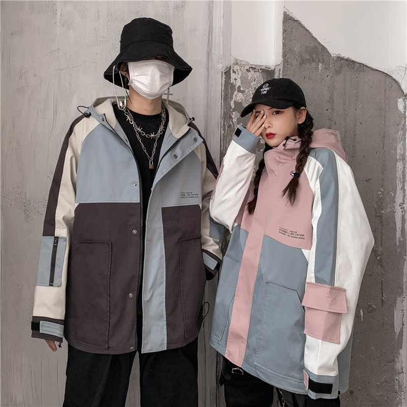Cool couple in autumn and winter with loose tooling coat cool mens and womens functional style Hooded Jacket